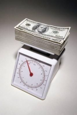 money atop scale