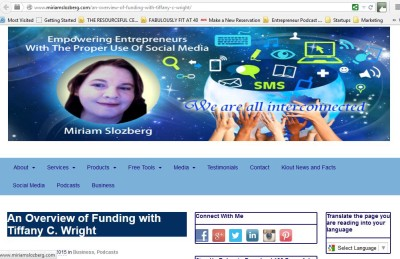 Web page for Getting Social with Miriam